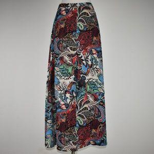 Ark and Co Colorful Maxi Skirt Sz S Paisley Print